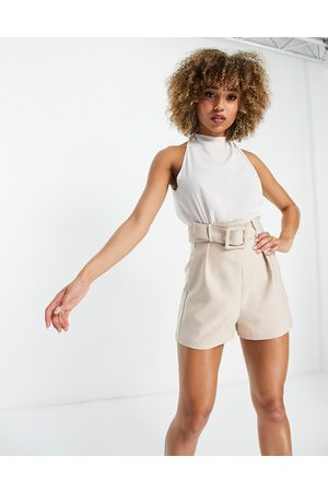ASOS 2 in 1 belted playsuit in stone and white-Neutral