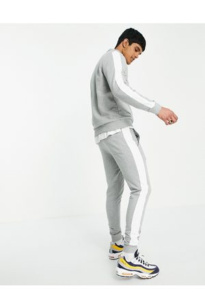 ASOS Tracksuit half zip track top/ skinny jogger with side stripe-Grey
