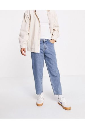 ASOS Relaxed tapered jeans in vintage mid wash blue