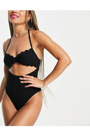 Fashion Union Cut out scallop swimsuit in black