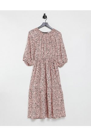 & OTHER STORIES Open back tiered midi dress in pink floral