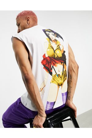 ASOS Oversized vest with Cowboy Bebop print in white