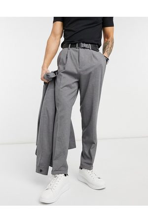 SELECTED Herre Chinos - Jersey suit trousers in tapered crop fit grey