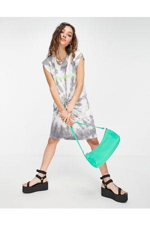 House of Holland Tie dye sleeveless t-shirt dress-Grey