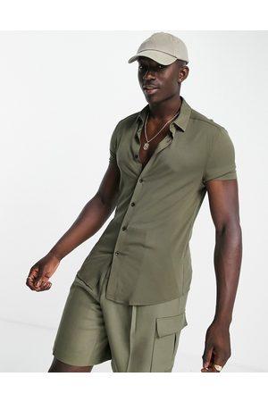 ASOS Skinny viscose shirt in khaki-Green