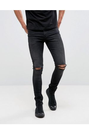 ASOS Super skinny 12.5oz jeans with knee rips in washed black