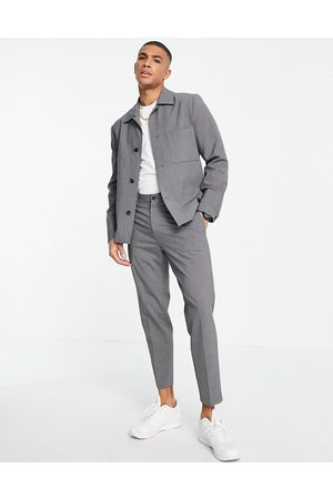 SELECTED Slim tapered suit trousers in grey
