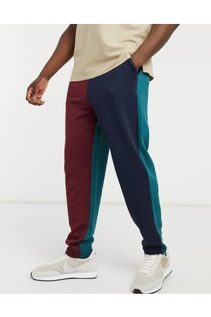 ASOS Oversized joggers in collegiate colour blocking with rolled hem-Multi