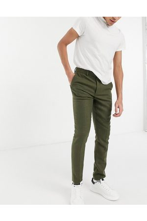 ASOS Skinny wool mix suit trousers in khaki twill-Green