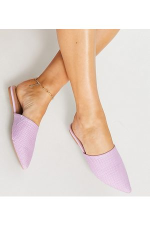 ASOS Wide Fit Lava pointed flat mules in lilac-Purple