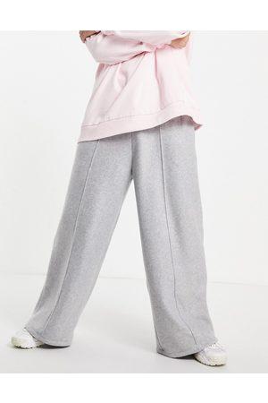 ASOS Polar fleece wide leg joggers in grey marl