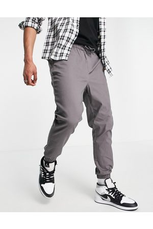 ASOS Tapered chino joggers with elasticated waist in charcoal-Grey