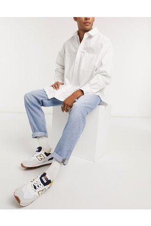 ASOS Straight crop jeans in vintage light wash blue