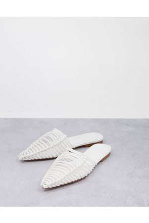 ASOS Lovesick pointed woven flat ballet mules in white