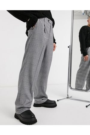 ASOS Herre Chinos - Wide leg smart trouser in check with turn up-Grey
