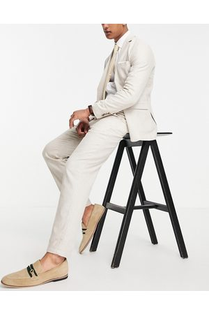 SELECTED Slim tapered linen blend suit trousers in -Neutral