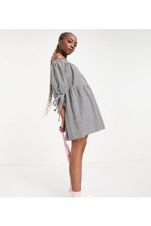 ASOS ASOS DESIGN Tall off shoulder tiered mini dress with tie sleeves in black and white gingham-Multi