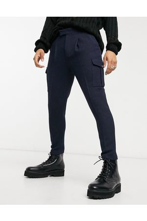 ASOS Tapered wool mix cargo smart trousers-Navy