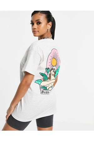 Honour HNR LDN oversized t-shirt with graphic palm back print-Grey