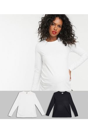 ASOS ASOS DESIGN Maternity ultimate slim fit t-shirt with long sleeves in organic cotton 2 pack SAVE in black & white-Multi