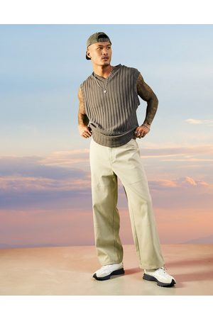 ASOS Wide fit trousers in rib texture in -Neutral