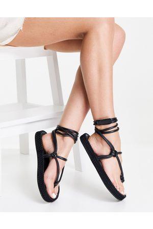 ASOS Joey premium leather toe thong espadrilles in black