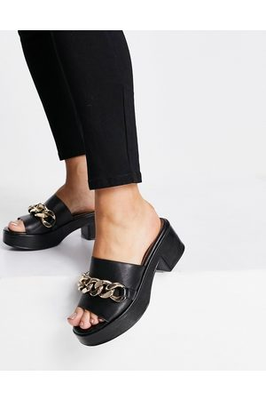 ASOS Heidi premium leather chain detail platform mid heeled sandals in black