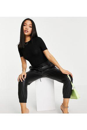 ASOS ASOS DESIGN Petite skinny fit t-shirt bodysuit in black