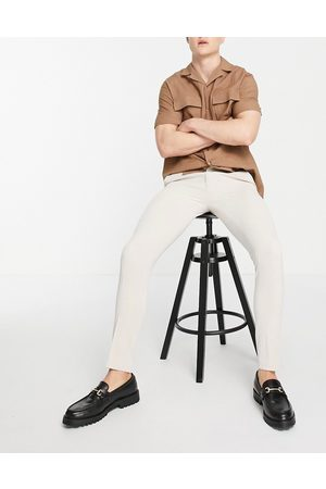 ASOS Smart super skinny oxford trousers in stone-Neutral