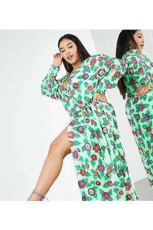 ASOS Curve sequin wrap midi dress in green floral