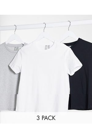 ASOS Dame Kortermede - Ultimate organic cotton t-shirt with crew neck 3 pack SAVE in black, white & grey marl-Multi