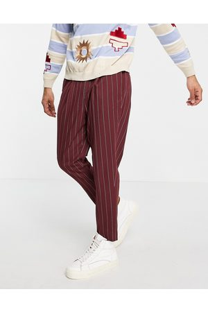 ASOS Herre Chinos - Tapered smart trousers in burgundy stripe