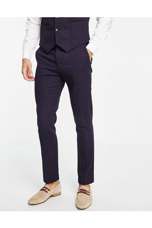 ASOS Herre Chinos - Wedding super skinny wool mix suit trousers with navy grid check