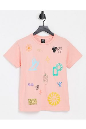 Obey Relaxed t-shirt with love and peace flash print-Pink