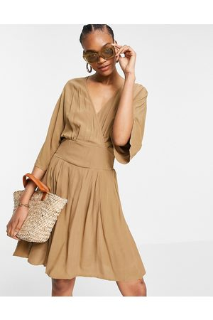Y.A.S Mini wrap dress with kimono sleeves in brown