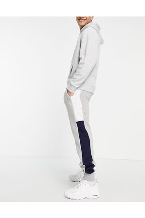 Le Breve Co-ord slim fit joggers in light grey & navy