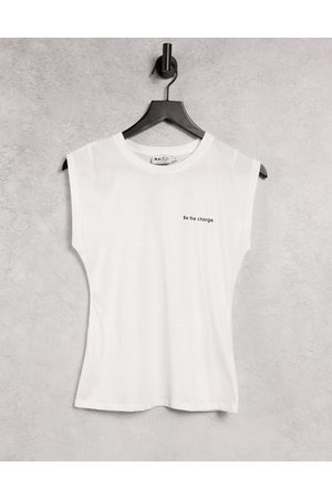 NA-KD Organic cotton 'be the change' cap sleeve top in white