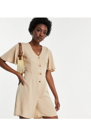 VERO MODA Romper playsuit with flutter sleeves in -Neutral