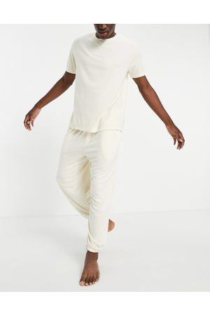 ASOS Fluffy pyjama set with oversized jogger and t-shirt in -Neutral