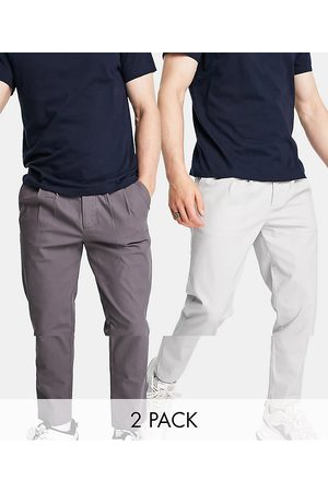 ASOS 2 pack cigarette chinos with pleats in charcoal and light grey save-Multi