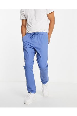 ASOS Slim chinos with elasicated waist in bright blue