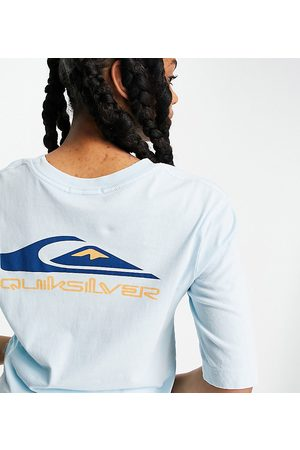 Quiksilver Mid Sleeve Logo t-shirt in blue Exclusive at ASOS