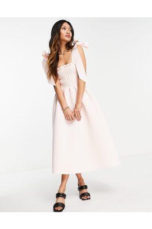 ASOS Shirred bunny tie prom midi dress in blush-Neutral