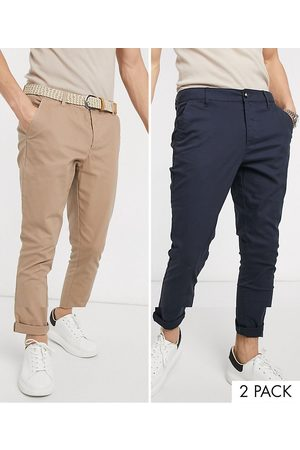 ASOS 2 pack super skinny chinos in navy & stone save-Multi