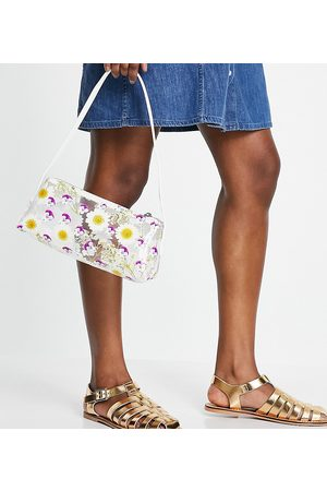 ASOS Wide Fit Marina leather fisherman flat shoes in metallic gold