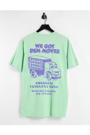 Crooked Tongues Co-ord oversized t-shirt with dem moves in bright green