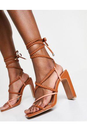 ASOS Neela strappy tie leg heeled sandals in tan/beige-Multi