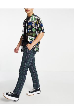 Farah Elm check tapered fit trousers-Blue
