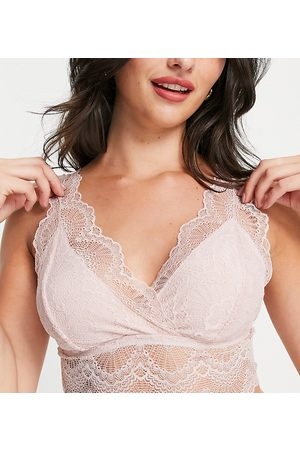 Mama Licious Mamalicious Maternity lace bra with nursing function in light pink