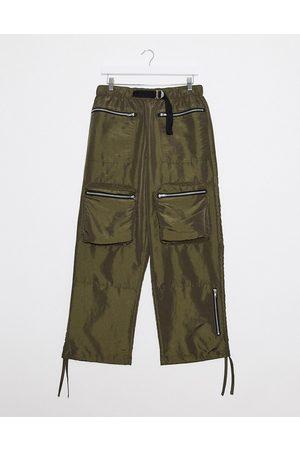 ASOS Wide leg trousers in khaki nylon with webbed belt-Green